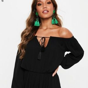 Black Bardot Tassel Skater Dress